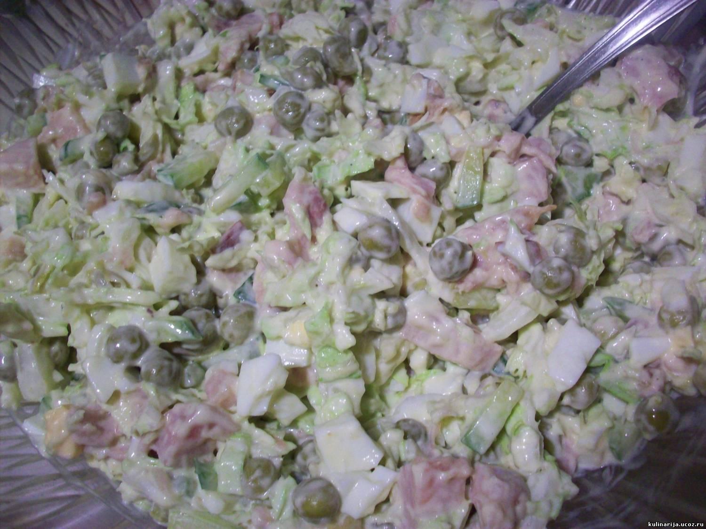 Салат из пекинской капусты и копченой колбасы рецепт пошагово