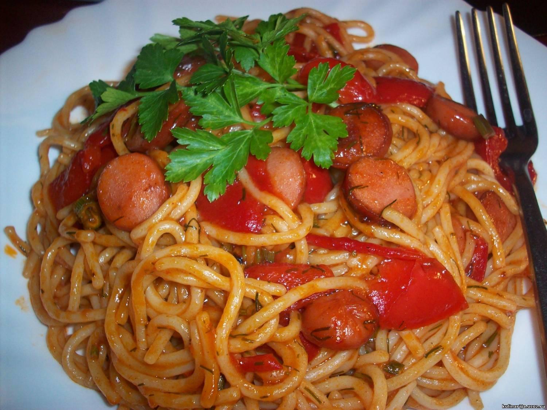 Макароны с колбасой и помидорами рецепт пошагово